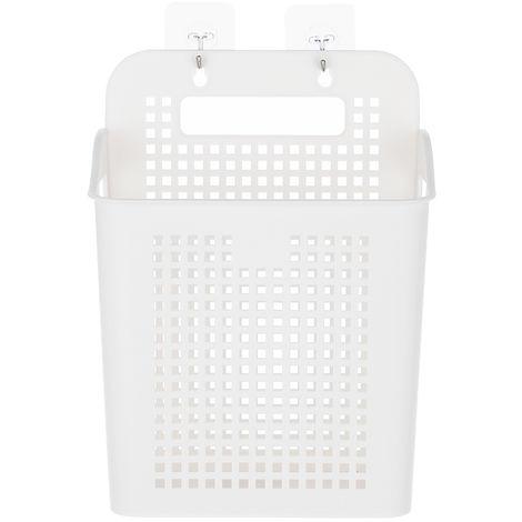 Cesta lavadero plastica con mango cestas de almacenamiento portatil Adhesivo Ganchos y, por Cocina Bano Cuarto de lavar, blanca