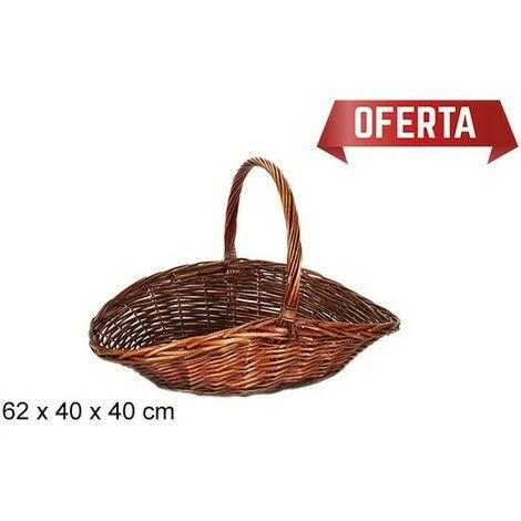 Cesta Mimbre Caoba Para LeÑa 62x40x40cm