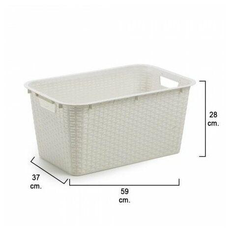 Cesta ordenacion / colada resina 59x37x28 cm. blanca