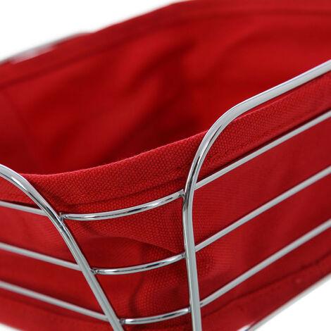 Cesta pan metal cromado Rojo