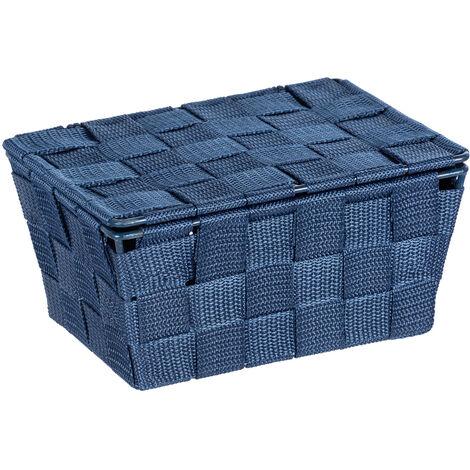 Cesta para el baño Adria, con tapa color azul oscuro