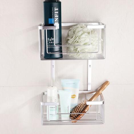 Cesta porta gel rectangular doble GAL para baño o ducha para colgar. Portageles para botes de gel, esponjas o champú Kibath