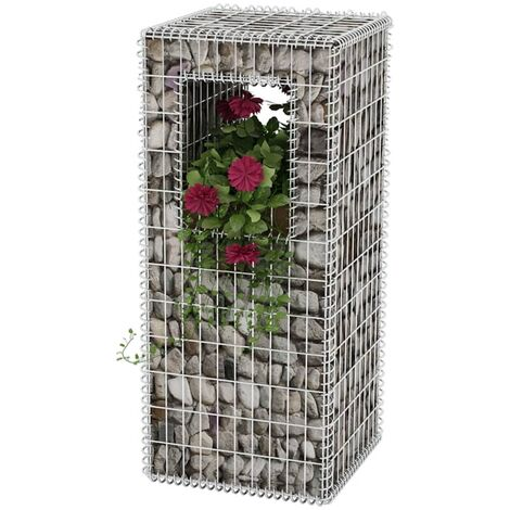 Cesta poste/jardinera de gaviones de acero 50x50x120 cm