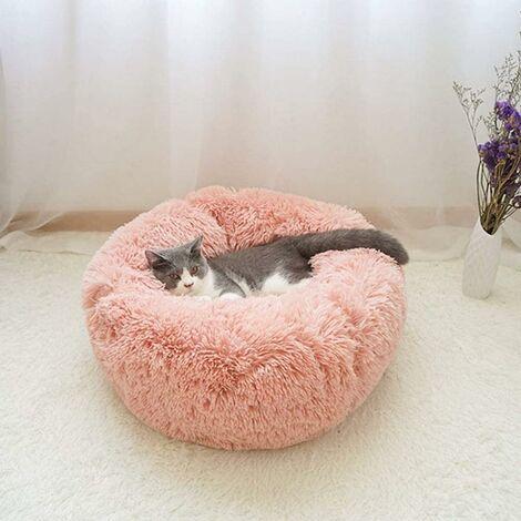 Cesta redonda de felpa con forma de rosquilla para perros y gatos
