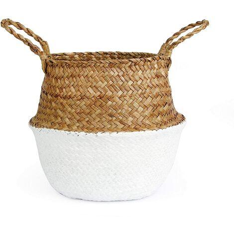 Cesta tejida de pasto marino para almacenamiento, lavandería, picnic, como cubierta de maceta, para almacenamiento de comestibles y juguetes (32x28 cm, blanco)