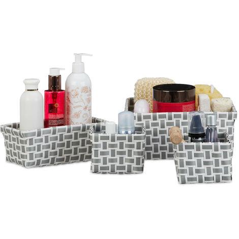 cestas almacenaje, Juego de 4 cajas, Plástico duro, Estables, Óptica tipo mimbre trenzado, Blanco y gris