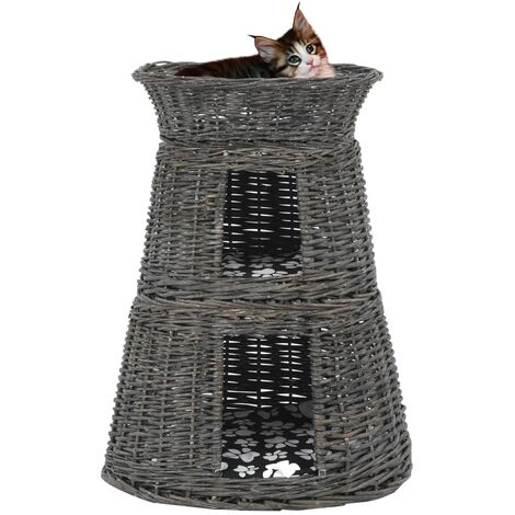 Cestas de gatos 3 uds con cojines sauce natural gris 47x34x60cm(no se puede enviar a Baleares)