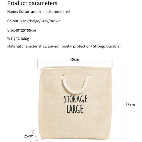 Cestas de la ropa a prueba de agua bolsa de algodon de lino doblar la ropa sucia Cestas de almacenaje de la ropa para el hogar Organizador con asas, Beige