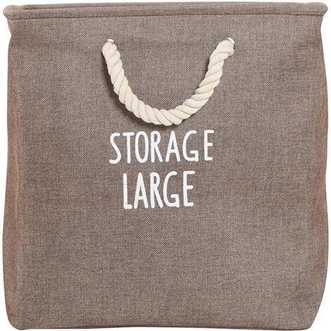 Cestas de la ropa a prueba de agua bolsa de algodon de lino doblar la ropa sucia Cestas de almacenaje de la ropa para el hogar Organizador con asas, Brown