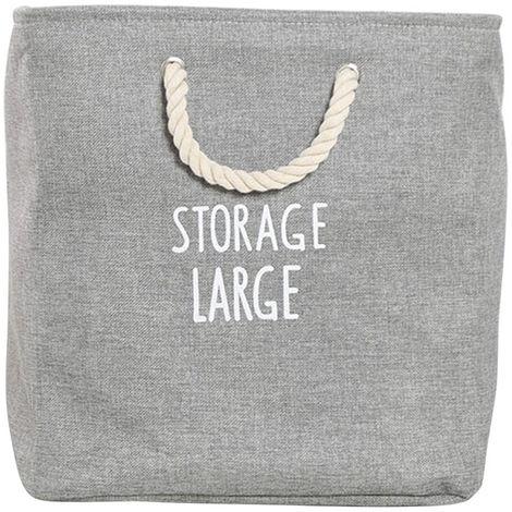 Cestas de la ropa a prueba de agua bolsa de algodon de lino doblar la ropa sucia Cestas de almacenaje de la ropa para el hogar Organizador con asas, gris