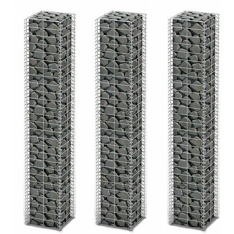 Cestas de muro de gaviones alambre galvanizado 25x25x150cm 3 ud