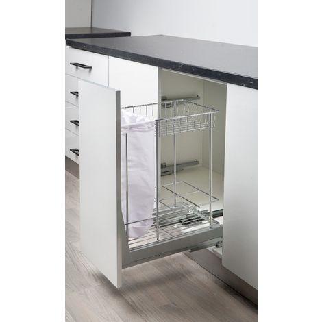 Cestelli Estraibili Per Mobili Da Cucina.Cestello Estraibile Cucina Dispenser Per Modulo 30 40cm Estrazione Totale Ammortizzato Soft