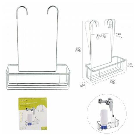 Cestillo de baño para colgar de acero cromado en griferia, gifros, duchas, bañeras, color inox 30x12x38 (alt) cm. sin agujeros.