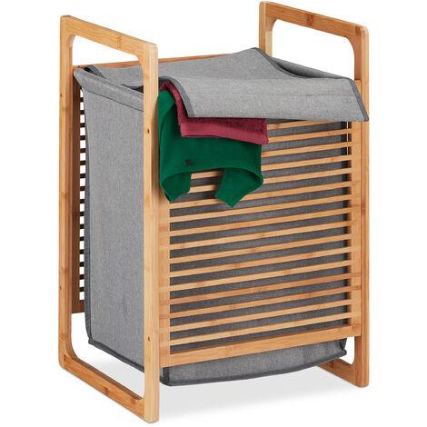 Cesto de bambú para la ropa sucia, Canasto rectangular con tapa, Accesorio de baño, 60x40x35 cm, Marrón/gris