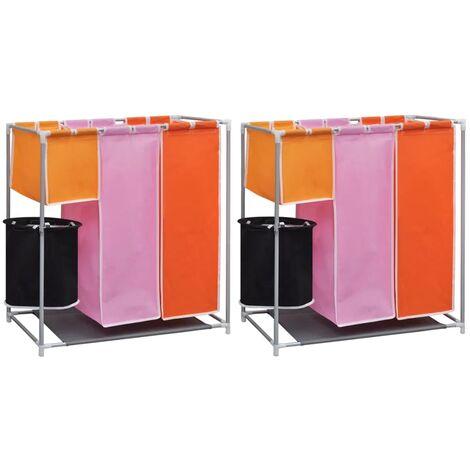Cesto de ropa sucia 2 unidades 3 secciones con cubo de lavado