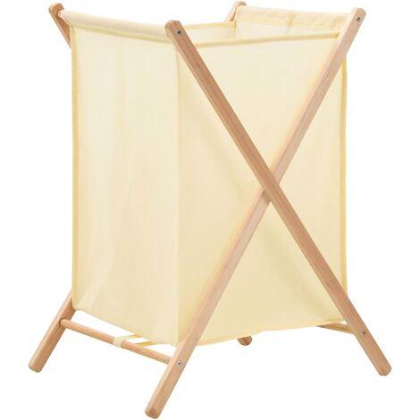 Cesto de ropa sucia madera de cedro y tela beige 42x41x64 cm