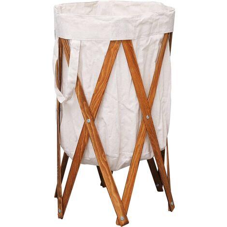 Cesto para colada plegable madera y tela color crema