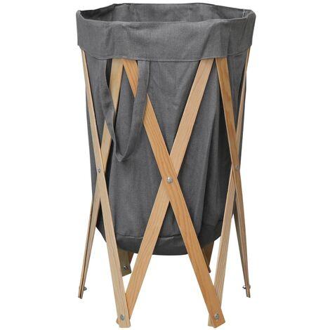 Cesto para colada plegable madera y tela gris