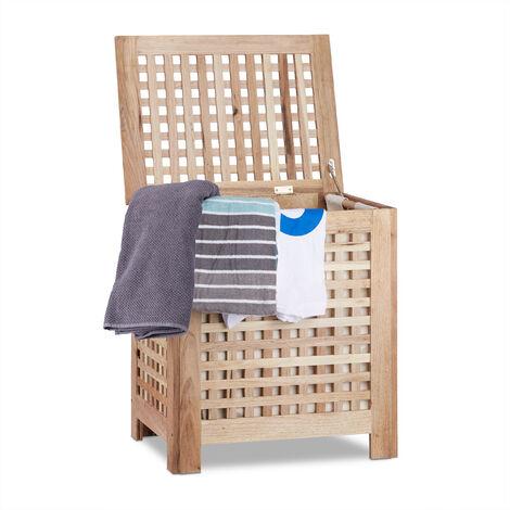 Cesto para la ropa sucia, Con tapa, Saco extraíble, 70L, 55,5 x 52,5 x 39,5 cm, Marrón