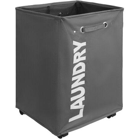 Cesto para ropa sucia - cesto para ropa sucia con ruedas, cesto plegable elegante para casa, canasto para ropa resistente con malla interior
