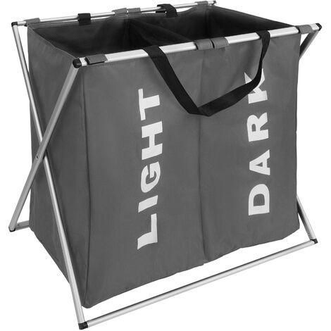 Cesto para ropa sucia doble - cesto para ropa sucia plegable, cesto con estructura de aluminio inoxidable, canasto para ropa con compartimentos