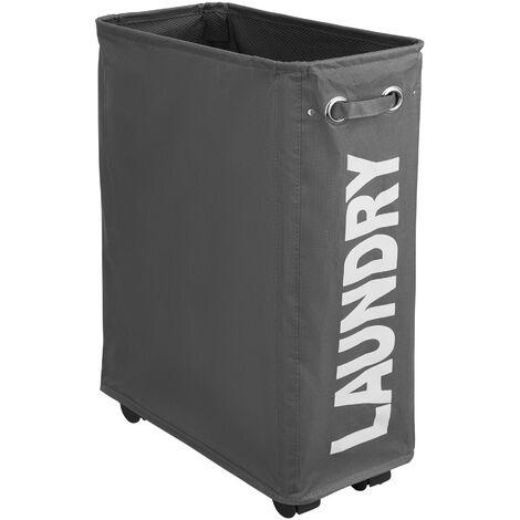Cesto para ropa sucia estrecho - cesto para ropa sucia con ruedas, cesto plegable elegante para espacios pequeños, canasto para ropa resistente con malla interior