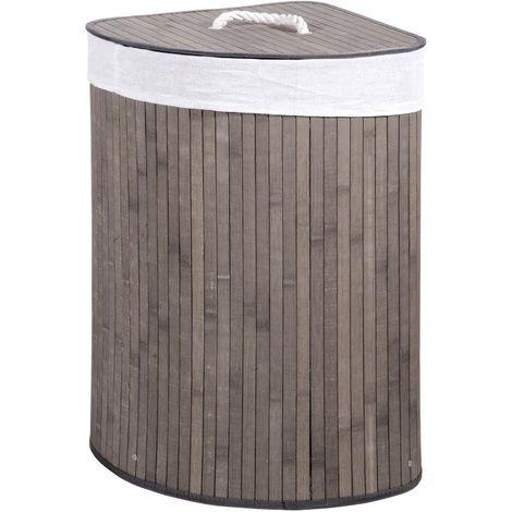 Portabiancheria Sporca Acciaio.Cesto Portabiancheria Cesto Porta Biancheria Contenitore Bambu Bianco O Grigio