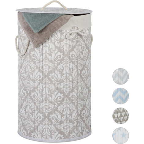 1 Unidad Relaxdays Cesto Color Gris bamb/ú, Plegable, con Tapa, 60 litros, 2 Bolsas para la Colada, 66 x 49,5 x 37 cm