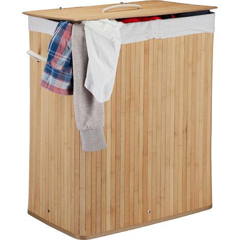 Cesto Ropa Sucia con Tapa y 2 Compartimentos, Cubo Colada Plegable, Canasta, Bambú, 95 L, Natural