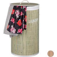 Cesto Ropa Sucia con Tapa y Plegable, Bambú, Varios Colores, 50 Litros