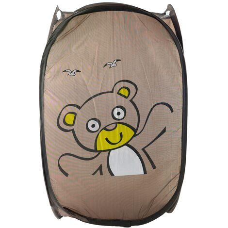 Cesto Ropa Sucia/Juguetes Infantil, 5 Modelos a elegir. Diseño de Animales, Ideal para el almacenaje del Hogar 51,5x34 cm Marrón