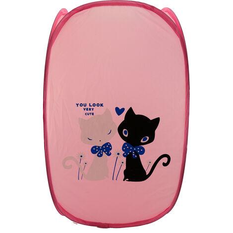 Cesto Ropa Sucia/Juguetes Infantil, 5 Modelos a elegir. Diseño de Animales, Ideal para el almacenaje del Hogar 59x35 cm Rosa claro