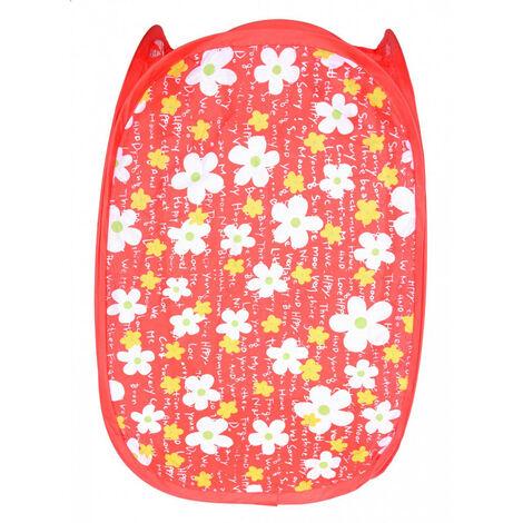 Cesto Ropa Sucia/Juguetes Infantil, 5 Modelos a elegir. Diseño Floral, Ideal para el almacenaje del Hogar 48x25,5 cm Rojo