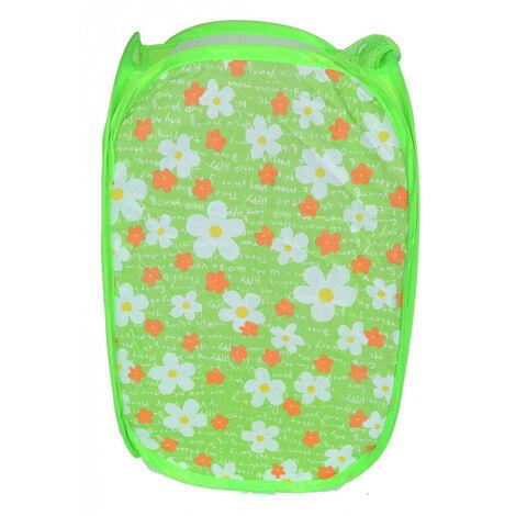 Cesto Ropa Sucia/Juguetes Infantil, 5 Modelos a elegir. Diseño Floral, Ideal para el almacenaje del Hogar 48x25,5 cm Verde