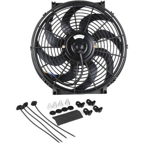 Cf003-Bk 14 Pouces 90W 12V Voiture Universel Slim Reversible Radiateur Electrique Du Ventilateur De Refroidissement Push Pull Avec Kit De Montage