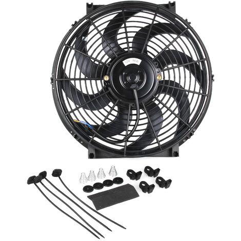 CF003-BK ventilateur de voiture ventilateur de reservoir d'eau modifie haute puissance ventilateur de refroidissement de voiture lame de ventilateur incurvee 14 pouces