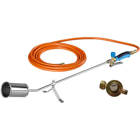 CFH GV900 Désherbeur à gaz avec régulateur de pression et tuyau de gaz de 5 mètres