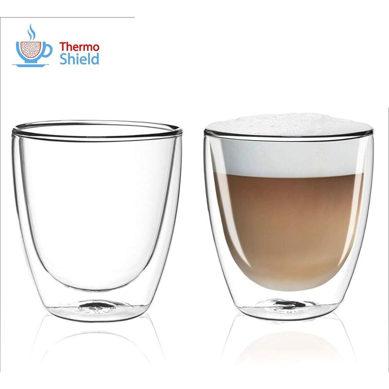Image of CFL-660B Thermoshield Double Wall Cappuccino Glasses / Coffee Glasses (Twin Pack) by FilterLogic
