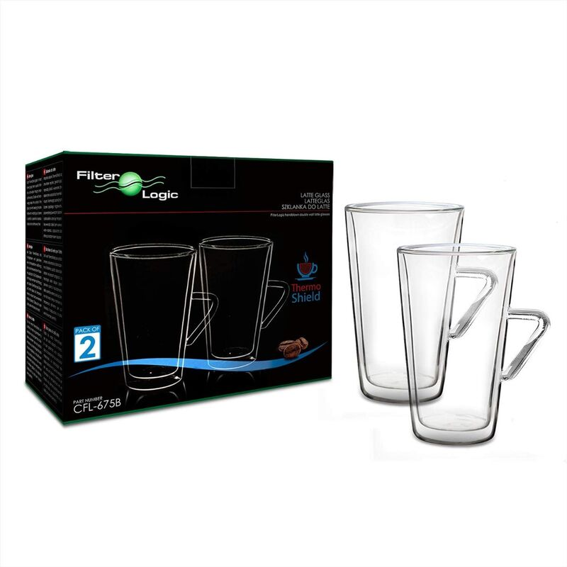 Image of CFL-675B ThermoShield Double Wall Latte Glasses with Handle by - Filterlogic