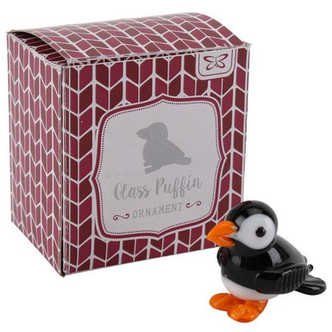CGB Giftware Artisan Glass Puffin (One Size) (Black/White)