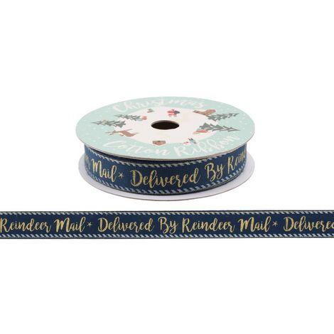 CGB Giftware Christmas Gold Reindeer Mail Ribbon (5m) (Depth: 1.8cm Diameter: 8.2cm) (Black)
