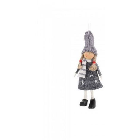 CGB Giftware Christmas Happy Girl Hanging Decoration (One Size) (Grey)