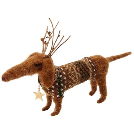 CGB Giftware Felt Dog With Antlers Decoration (One Size) (Brown)