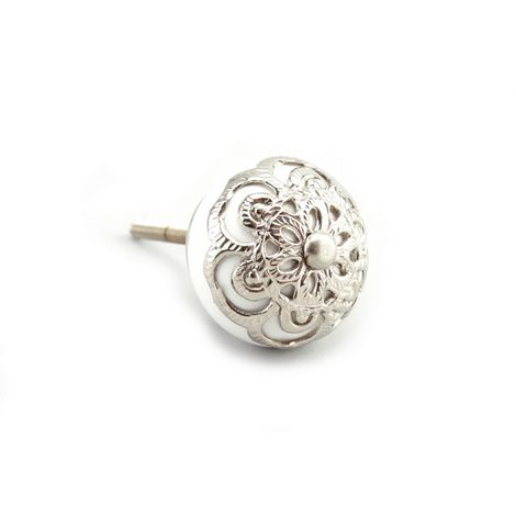 CGB Giftware White With Silver Filigree Drawer Handle (One Size) (White/Silver)