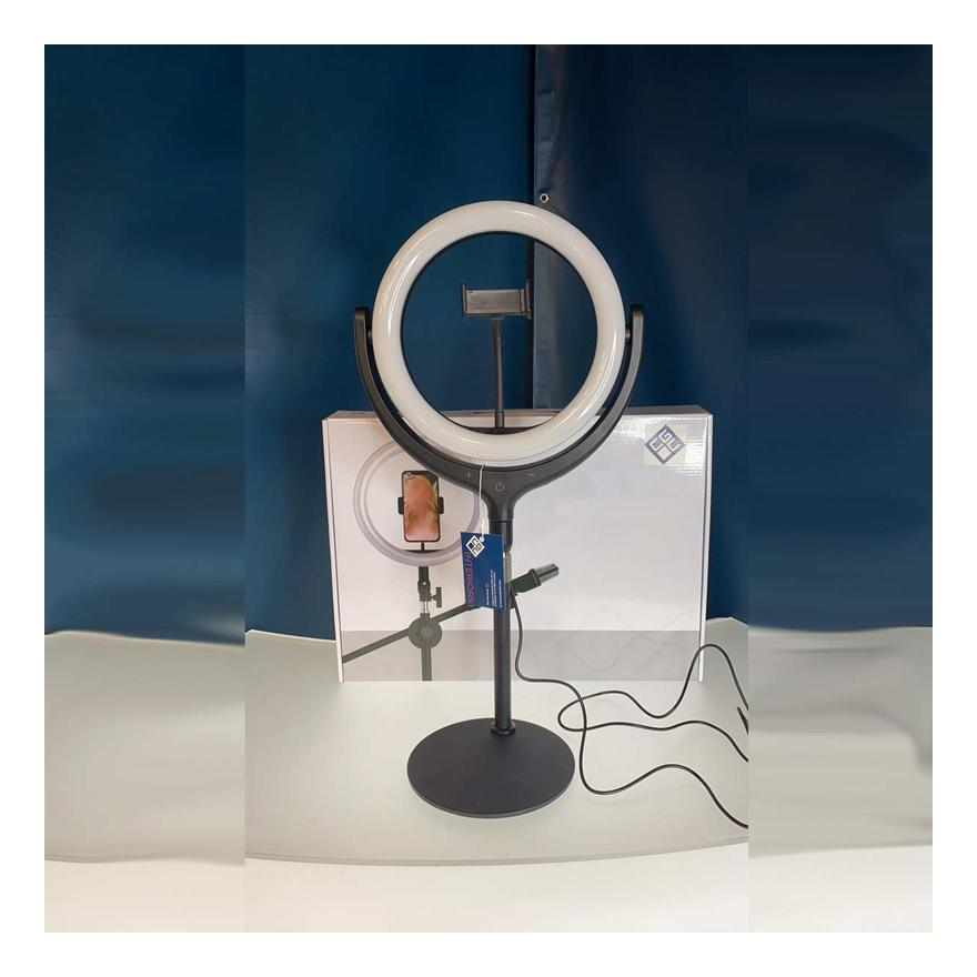 Image of CGC 10' Inch Extendable Selfie LED Ring Light UK Round Base Table Desk Vanity Adjustable Remote Livestream TikTok Instagram You Tube Vlog Zoom Teams