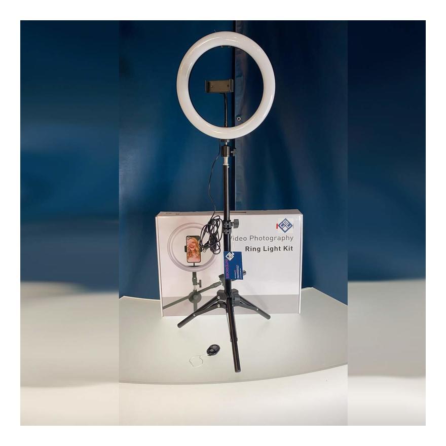 Image of CGC 10' Inch Extendable Selfie LED Ring Light UK Tripod Table Desk Vanity Adjustable Remote Livestream TikTok Instagram You Tube Vlog Zoom Teams Make
