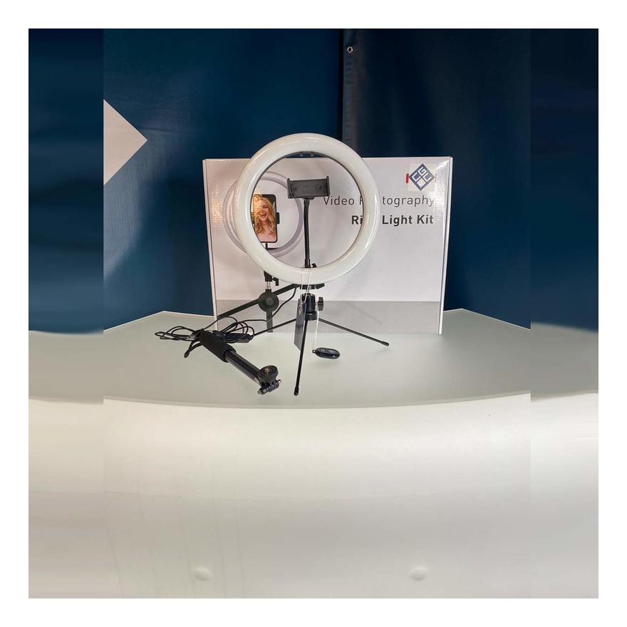 "Image of CGC 10"" Inch Extendable Selfie Stick LED Ring Light UK Tripod Table Desk Vanity Adjustable Remote Livestream TikTok Instagram You Tube Vlog Make Up"