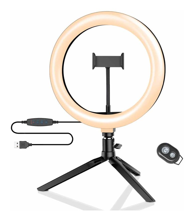 Image of CGC 10' Inch Selfie LED Ring Light UK Tripod Table Desk Vanity Adjustable Remote Livestream TikTok Instagram YouTube Vlog Zoom Teams Make Up