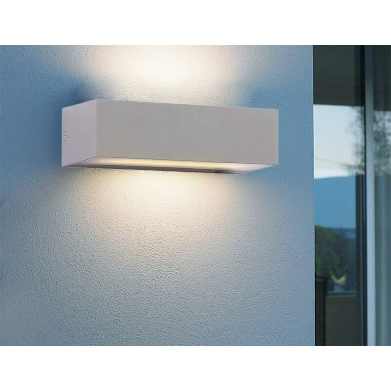 Image of CGC 12W Indoor or Outdoor Grey Up & Down Rectangular LED Wall Light 6400k Cool White Colour Temperature Porch Door Patio Garden - CGC LIGHTING