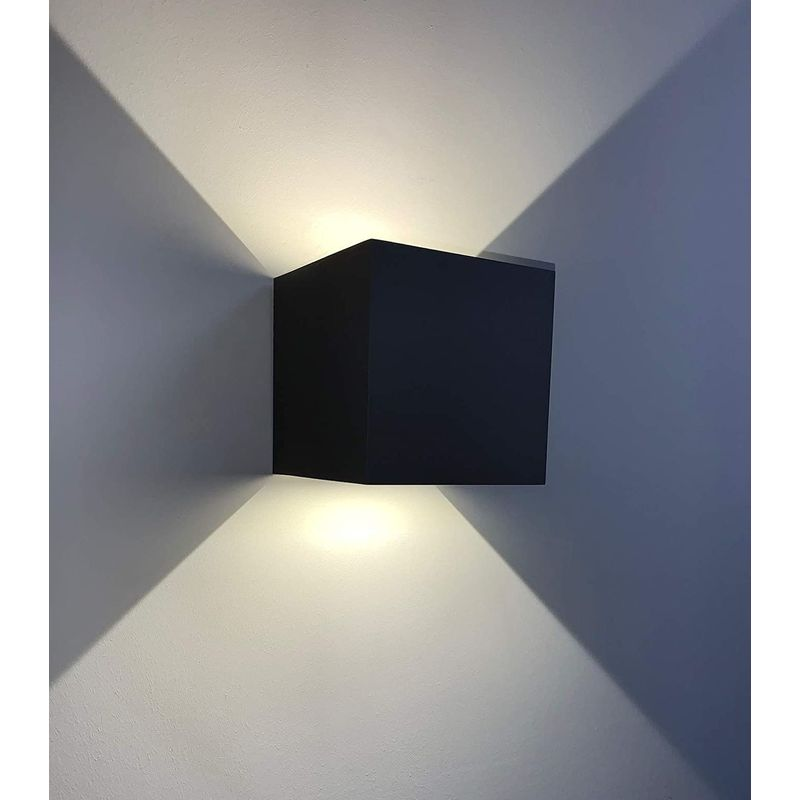 Image of CGC 12W Indoor Outdoor Black Up & Down Square LED Wall Light 4000k Natural White Colour Temperature Door Patio Porch Garden Wall Lamp - CGC LIGHTING